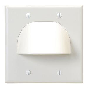 Vanco Dual-Gang Bulk Cable Wall Plate (white)