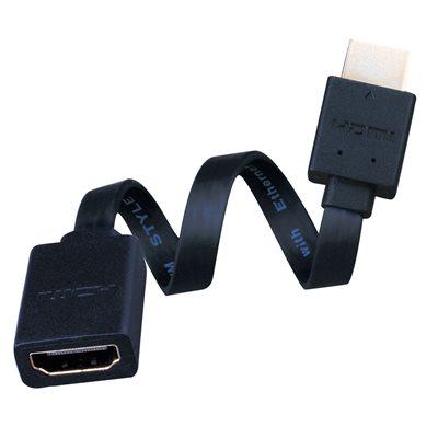 """Vanco 6"""" M / F Super Flex Flat HDMI Cable"""