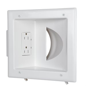 DataComm Recessed Low Vltg Media Plate w / Duplex Receptacle