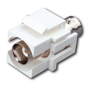 Vanco BNC Jack Keystone Inserts- Insert Color: White & Type: BNC Jack to BNC Jack, Nickel