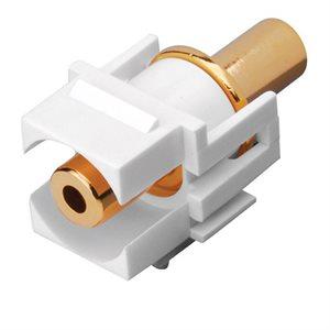Vanco 3.5mm Keystone Inserts- 3.5mm Jack to 3.5mm Jack (White)