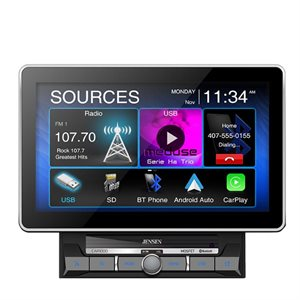 "Jensen 10.1"" Capacitive TFT Touch Screen (1024x600), Mechless, Built-in Bluetooth"