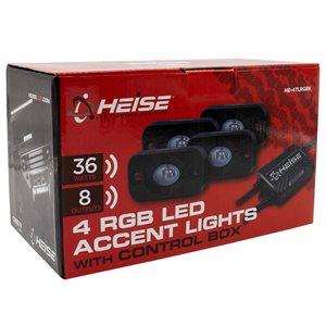 Heise RGB Accent Lights, 4pk Kit (black housing)