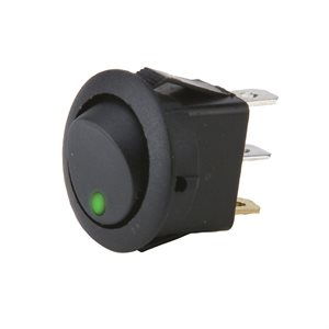 Install Bay Round Rocker Switch with Green LED (5 pk)