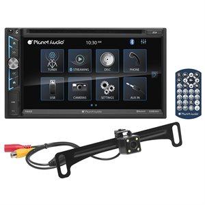 """Planet Audio 6.95"""" TS Monitor, DDIN, BT, DVD / MP3 / CD / AM / FM w / PCAM40B"""