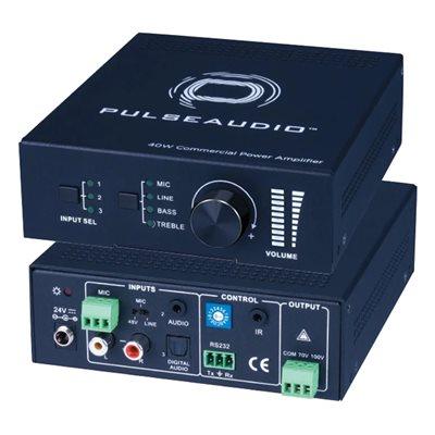 Vanco Single Channel 40w 70 / 100 Volt Amplifier w / Mic Input