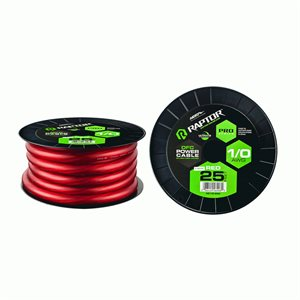Raptor Pro-Series 1 / 0 AWG OFC Power Wire 25' Spool (red)