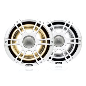"Fusion Signature series, 8.8"" Spk, White Sports Grille, RGBWW LED Illumination, 330W Peak, 130W RMS"