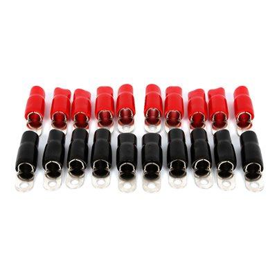 "T-Spec v8 1 / 0 ga 5 / 16"" Crimp Ring Terminal (red / black,20 pk)"